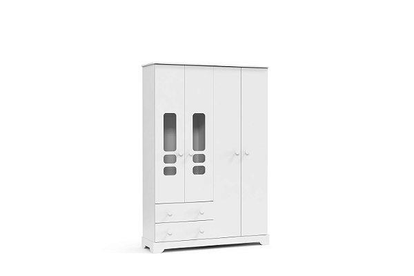 roupeiro smart 04 portas branco brilho - matic