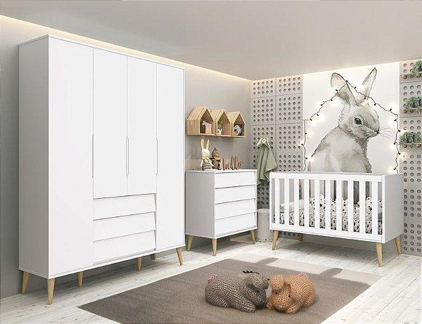 dormitório noah retrô branco com pés natural - roupeiro+berço+gaveteiro - reller