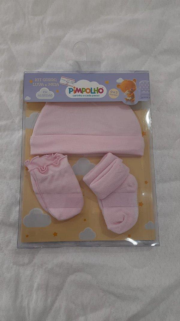 kit gorro+luva+meia rosa bebê - pimpolho