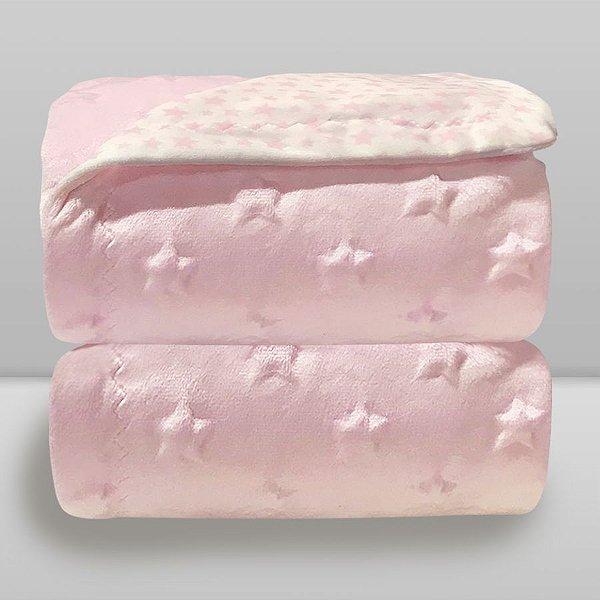 cobertor estrela rosa bebê