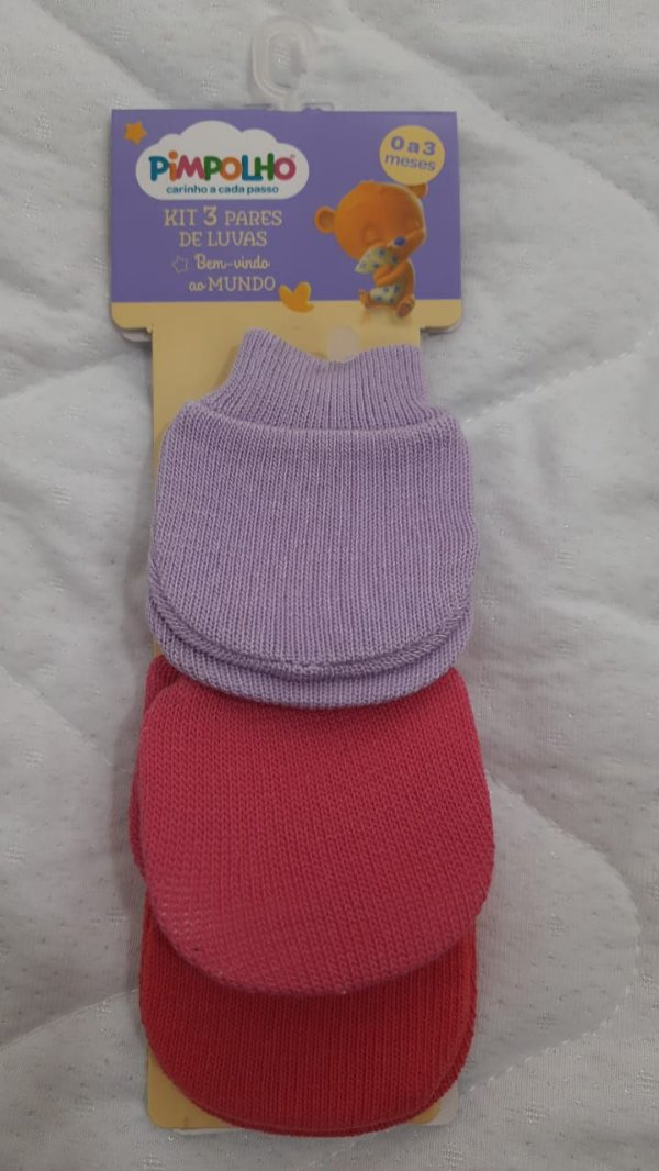 kit 3 pares de luvas lilás/rosa/vermelho - pimpolho