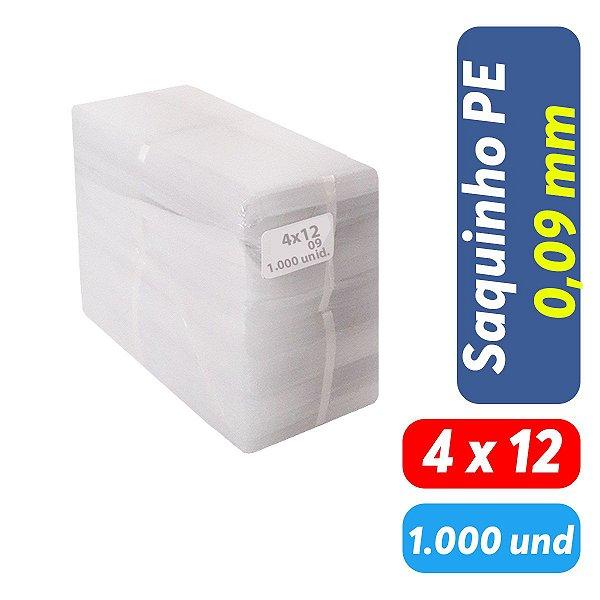 Saco Plástico PEBD 4x12x0,09 Pct c/ 1.000 und