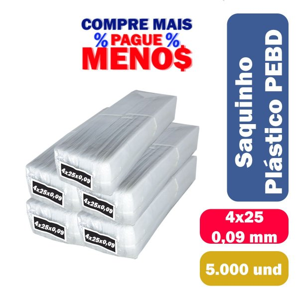 Saco Plástico PEBD 4x25x0,09 Pct c/ 5.000 und