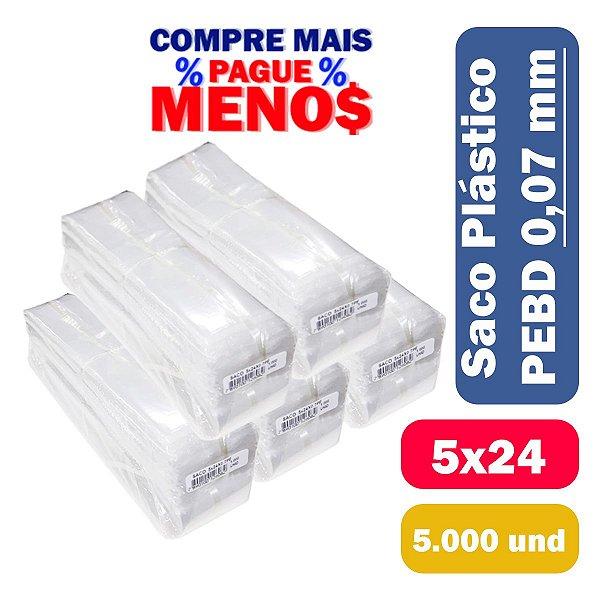 Saco Plástico PEBD 5x24x0,07 Pct c/ 5.000 und