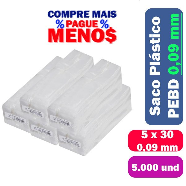 Saco Plástico PEBD 5x30x0,09 Pct c/ 5.000 und