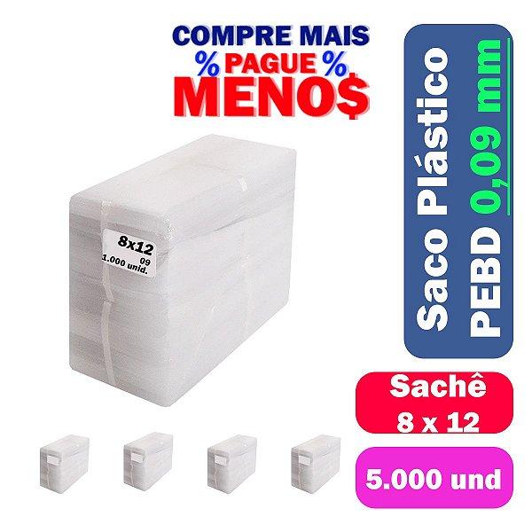 Saco Plástico PEBD 8x12x0,09 Pct c/ 5.000 und