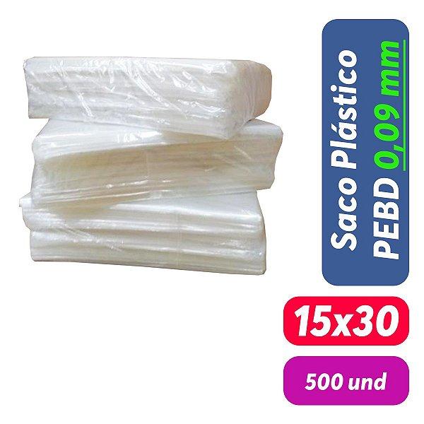 Saco Plástico PEBD 15x30x0,09 Pct c/ 500 und