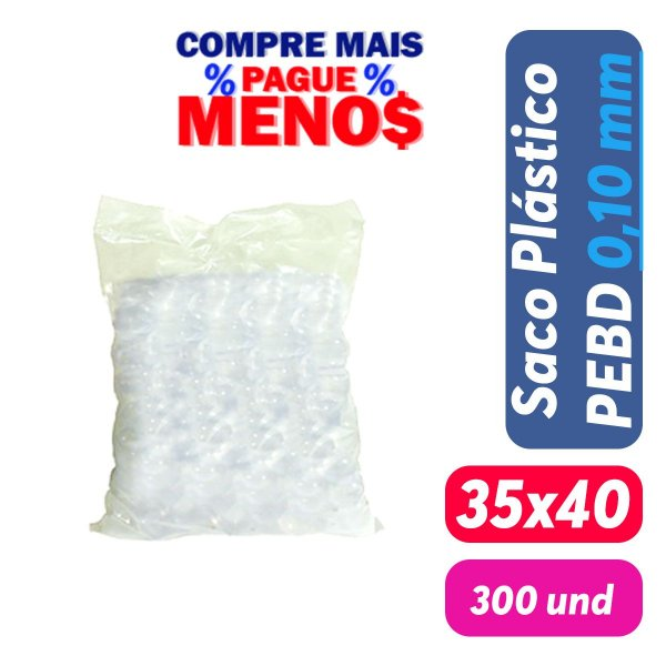 Saco Plástico PEBD 35x40x0,10 Pct c/ 300 und