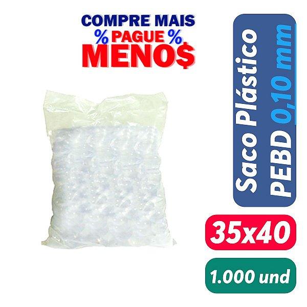 Saco Plástico PEBD 35x40x0,10 Pct c/ 1.000 und