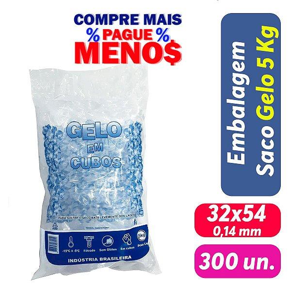 Saco PEBD Impresso Gelo 5Kg 32x54x0,14 - Pct c/ 300 und