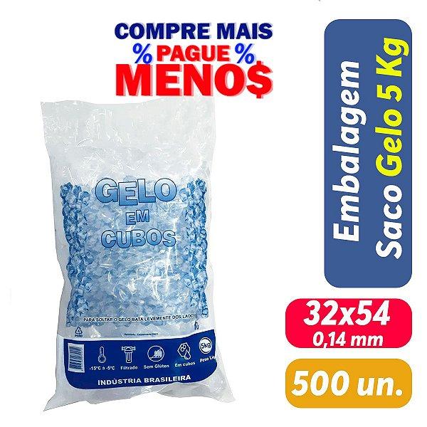 Saco PEBD Impresso Gelo 5Kg 32x54x0,14 - Pct c/ 500 und