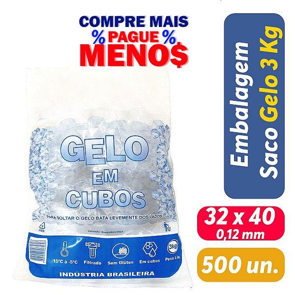 Saco PEBD Impresso Gelo 5Kg 32x40x0,12 - Pct c/ 500 und