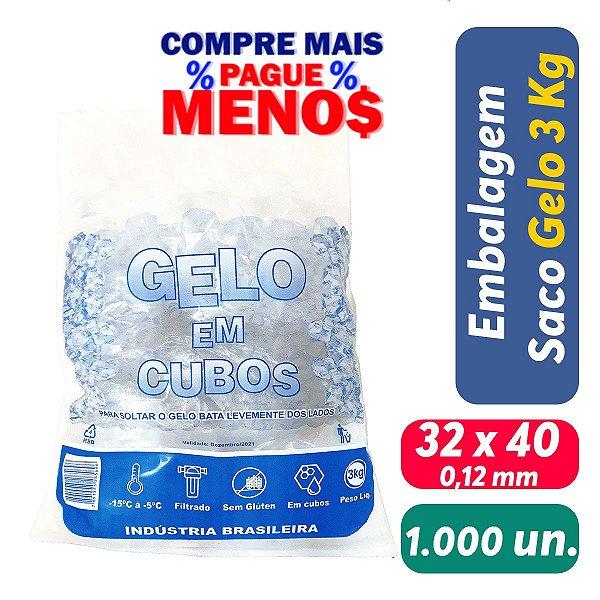Saco PEBD Impresso Gelo 5Kg 32x40x0,12 - Pct c/ 1.000 und