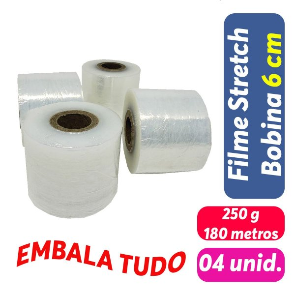 Filme Stretch Bobina 6cm (60mm) 250g - Pct c/ 4 unid.
