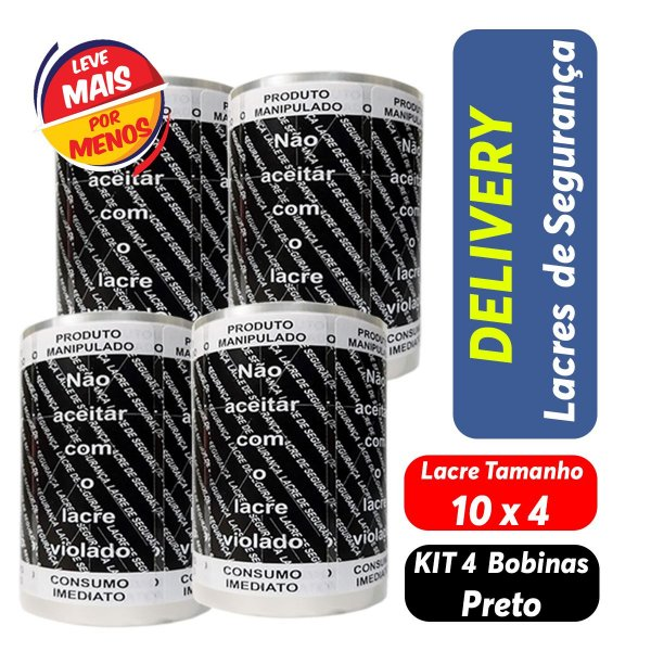 KIT Lacre de Segurança Delivery - 4 Bobinas - 4.000 Lacres Preto c/ Branco