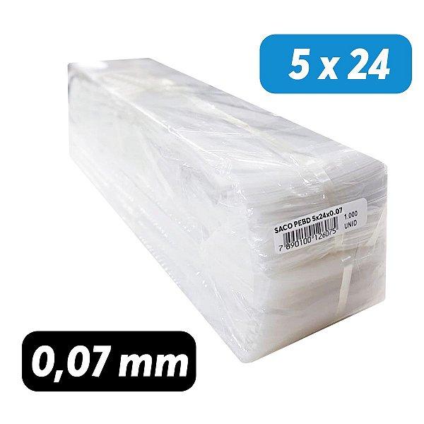 Saco Plástico PEBD 5x24x0,07 Pct c/ 1.000 und