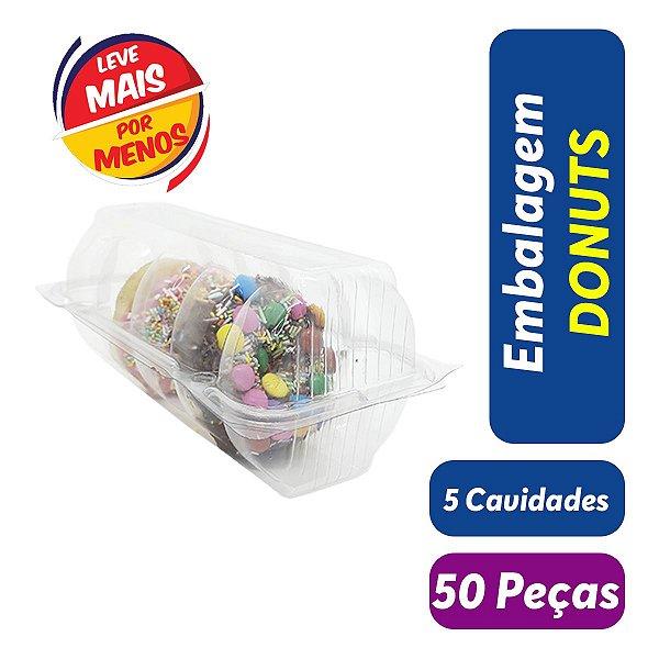 KIT - Embalagem Blister para Donuts - 5 Cavidades - Praticpack - Pct c/ 50 unid.