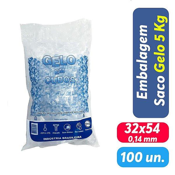 Saco PEBD Impresso Gelo 5Kg 32x54x0,14 - Pct c/ 100 und