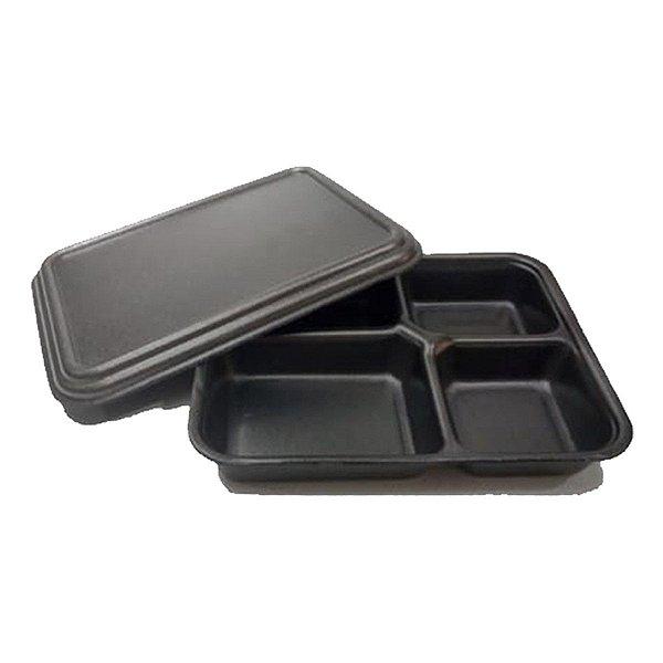 KIT - Marmita EPS Isopor 4 Cavidades - Preta - 25 unidades