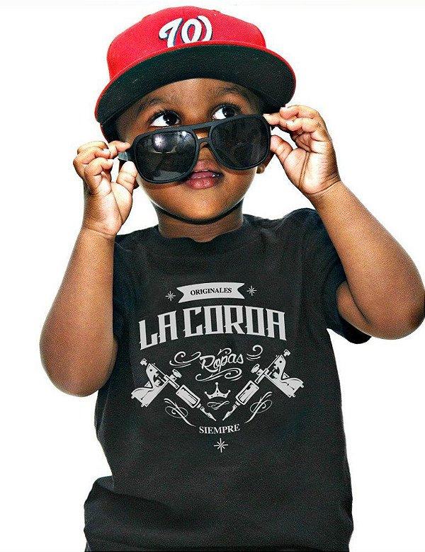Camiseta Infantil Tattoo | La Coroa | Preta
