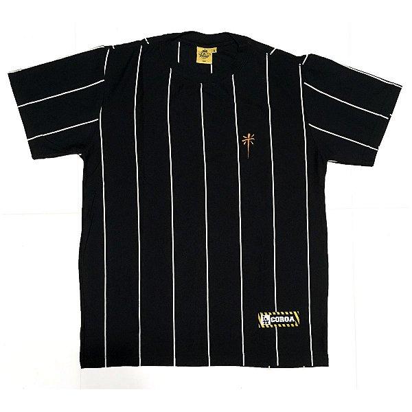 Camiseta  Listrada   La Coroa    Preta