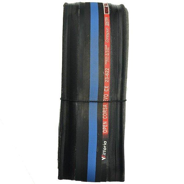 Pneu Vittoria 700x23 Open Corsa Kevlar CX Preto com Azul