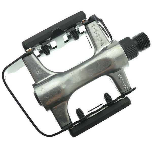 Pedal Alumínio MTB Feimin FP-976 Preto com Prata 9/16