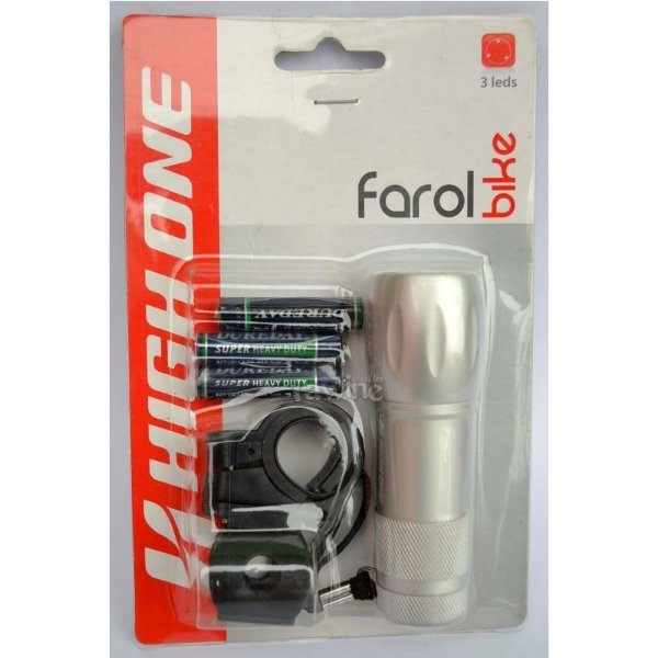 Farol 3 Leds Corpo em Alumínio High One Bike