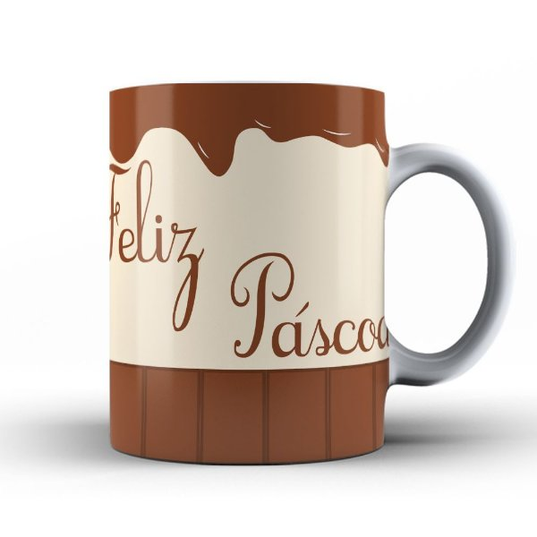 Caneca Feliz Páscoa de Chocolate