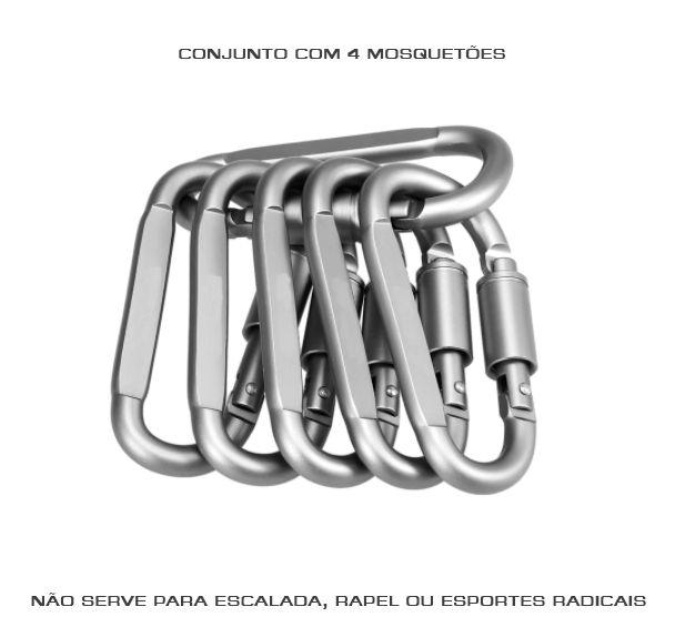 Mosquetão Em Alumínio Com Trava Rosca - Kit Com 4 Peças 8cm