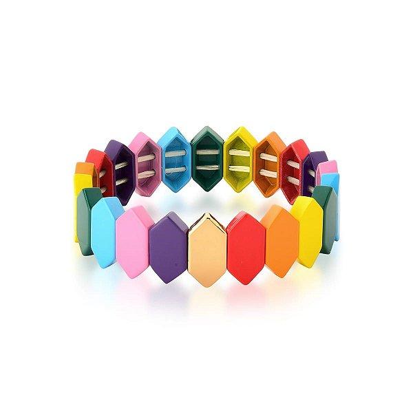 Pulseira placas rainbow