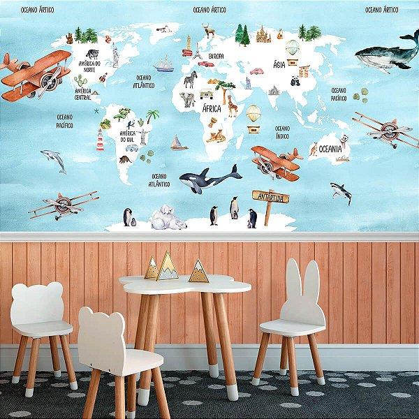 Papel de Parede Personalizado Mapa Aquarela