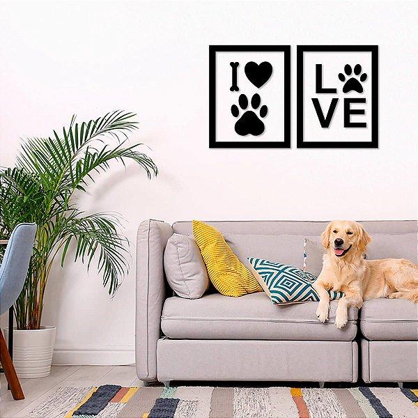 Quadro Decorativo 3D I Love Pet
