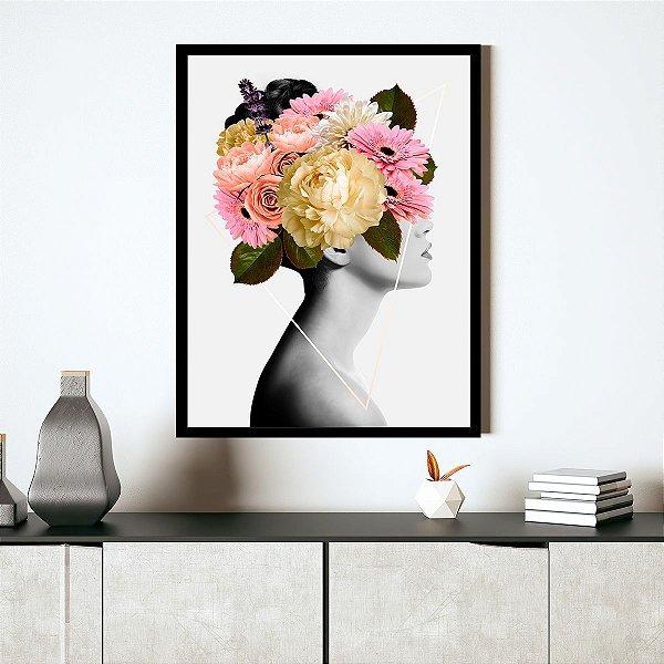 Quadro Mulher com Flores na Cabeça
