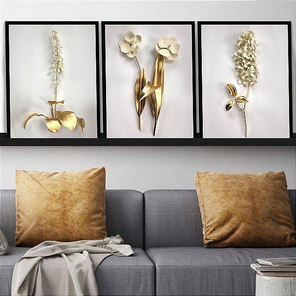 Kit Quadro Flores Golden