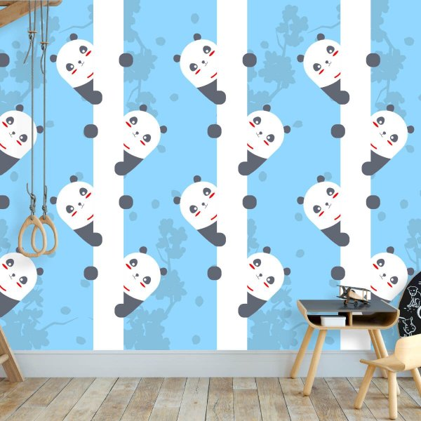 Papel de Parede Personalizado Panda Cute Azul