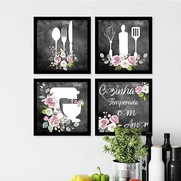Kit Placas Decorativas Cozinha Com Amor