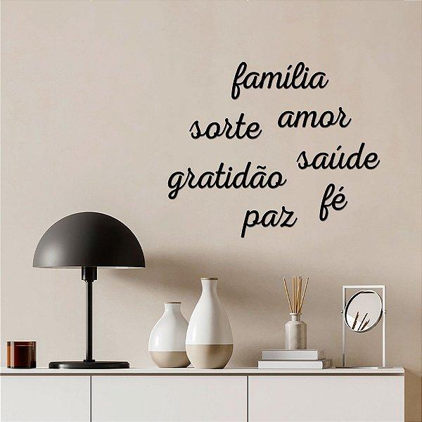 Palavra Decorativa de Parede Família Gratidão