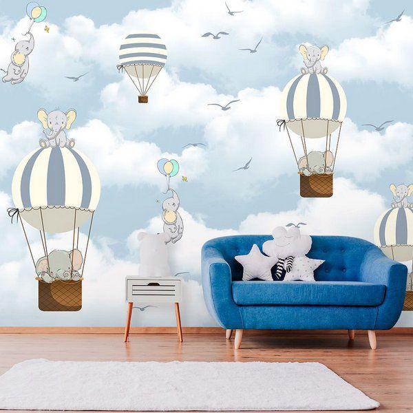 Papel de Parede Personalizado Elefante Balão Azul Venda - Rô - s28vgp