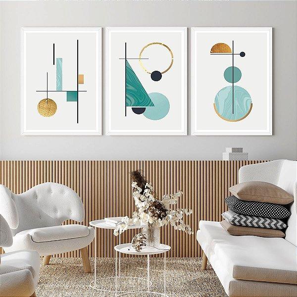 Kit Quadros Decorativos Formas Geométricas Abstratas