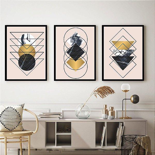 Kit Quadro Decorativo Geométrico Ouro
