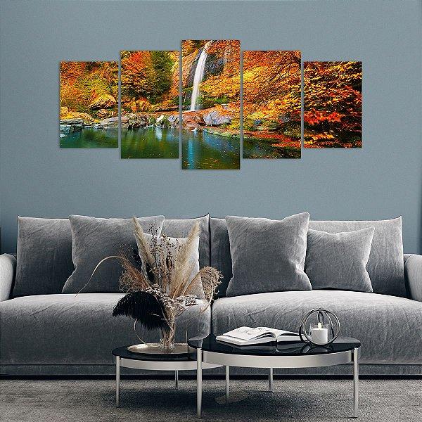 Quadro Mosaico Cachoeira Outono