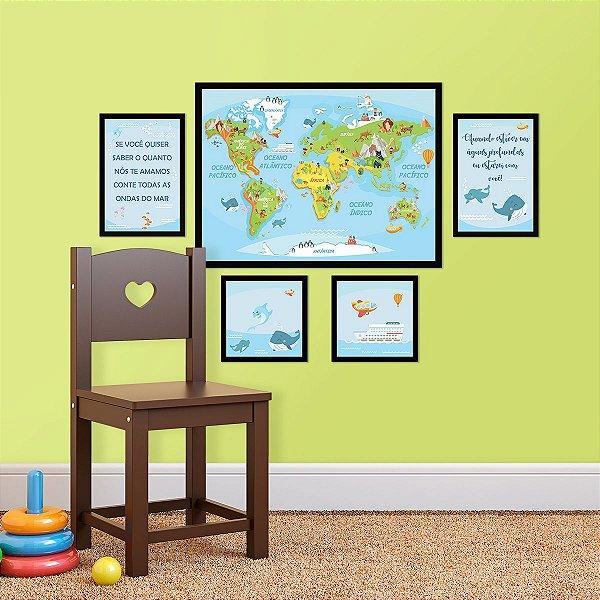 Kit de Placas Decorativas Mapa Mundi Kids