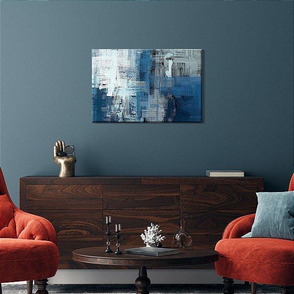 Quadro Decorativo Abstrato Xadrez Tons Azul e Cinza