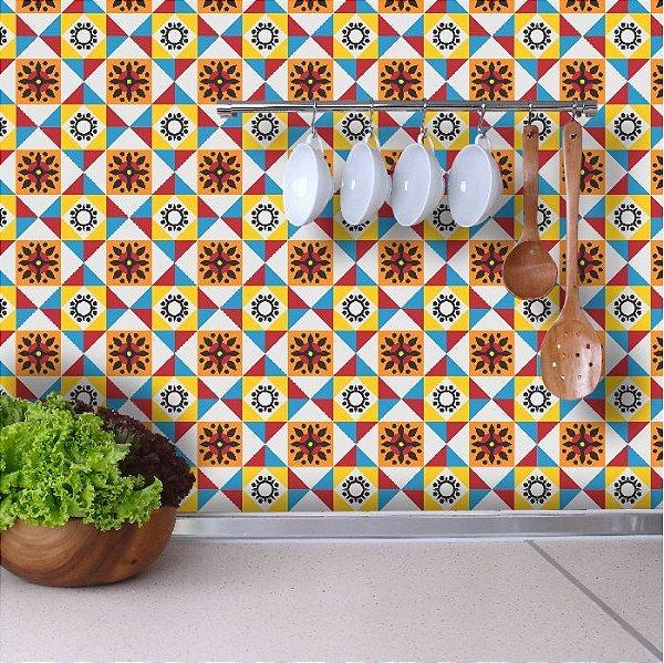 Adesivo de Azulejo Hidráulico Colorido