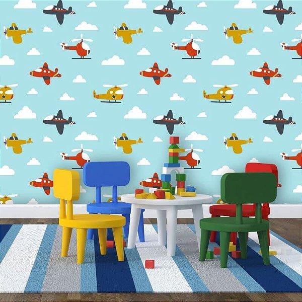 Papel de Parede Infantil Azul Avião