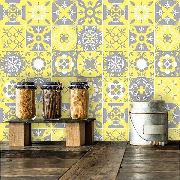 Adesivo de Azulejo Hidráulico Cinza e Amarelo