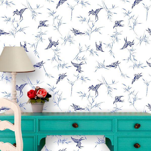 Papel de Parede Pássaros Azul Floral
