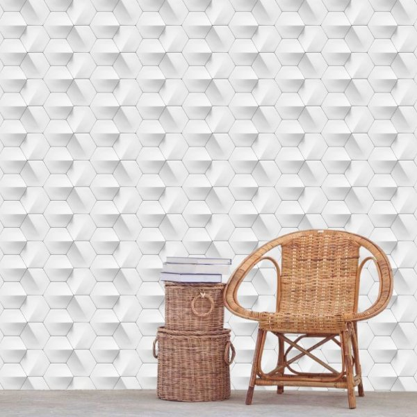 Papel de Parede Geométrico 3D Hexagonal