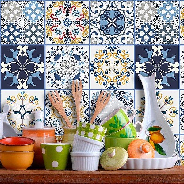 Adesivo de Azulejo Hidráulico em tons Marcantes de Azul
